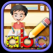 Kinder lernen, Buchstaben schreiben, Zahlen und Wö