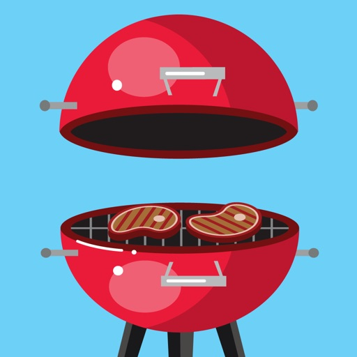 Let's BBQ Barbeque Grilling Sticker Pack por Amy Alexander
