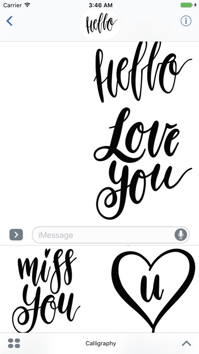Hello Calligraphy! Stickers for iMessageСкриншоты 2