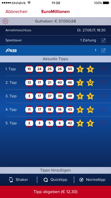Lotterien Shaker App