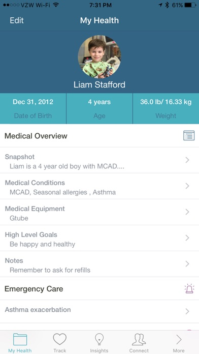Screenshot do app Caremap - navigate your child's healthcare