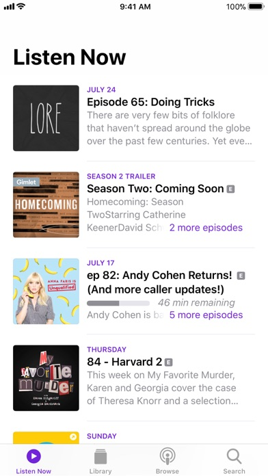 Podcasts Screenshot
