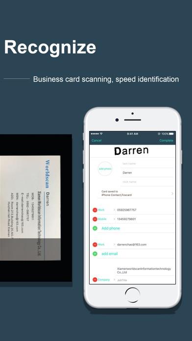 FoxCard pro& visiting card OCR Screenshots