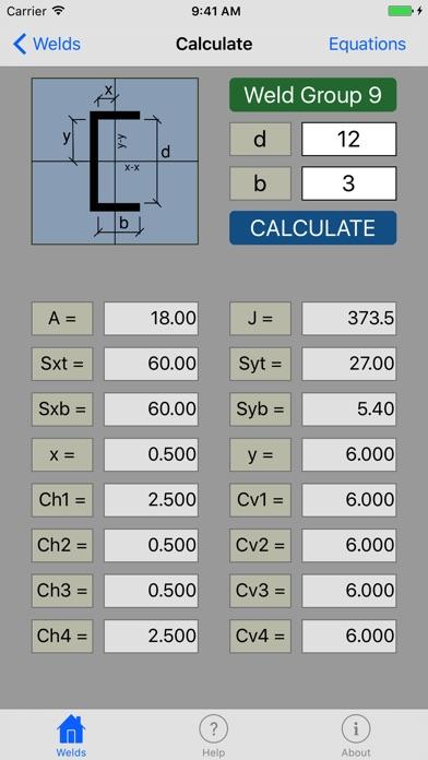 Screenshot of WeldEquations App
