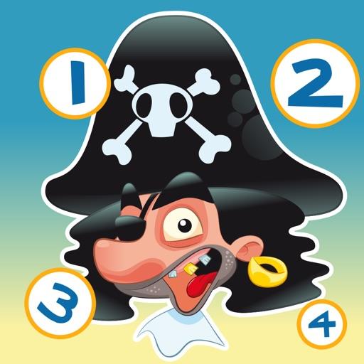 兒童遊戲2-5歲對海景的海盜:學會數數1-10幼兒園,學前班或幼兒園與海盜,船長,鸚鵡,百寶箱,鱷魚和船舶