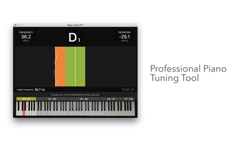 Piano Tuner PT1 1.0 released for macOS - Professional Piano Tuning App Image