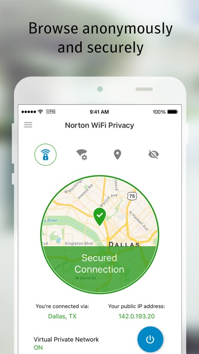 Norton WiFi Privacy VPN iPhone