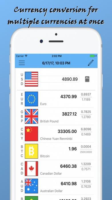 Rapid Currency Converter World Exchange rates list Screenshot