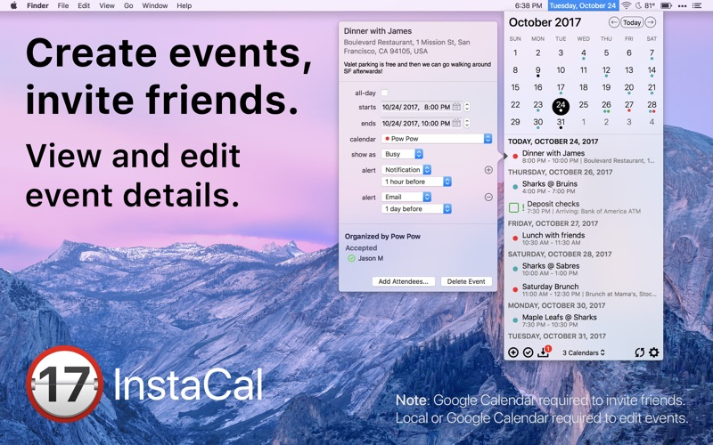 InstaCal - Menu Bar Calendar Screenshots