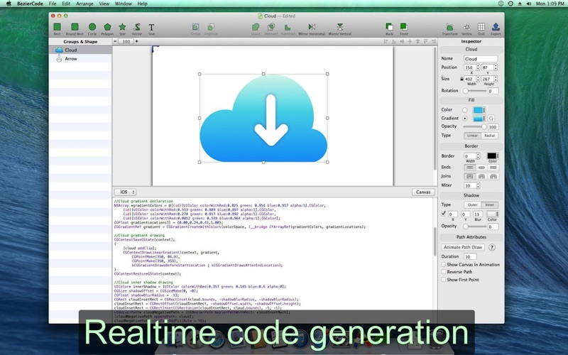 BezierCode - Vector Drawing to Objective C Code Screenshots