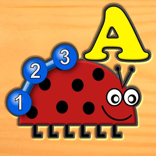 孩子昆虫字母数字逻辑和迷宫游戏-为学龄前儿童学习的乐趣