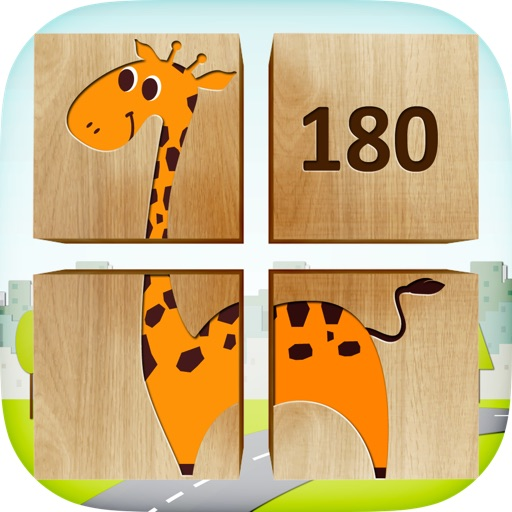 180 Kids Puzzle blocks game – 3D educational app with preschool children learning first words and pronunciations iOS App