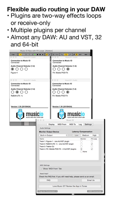 musicIO: Audio and MIDI over USB Screenshots