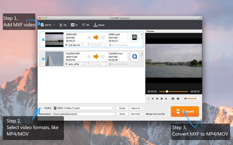 Screenshot #1 for Free MXF Converter-MXF to other videos