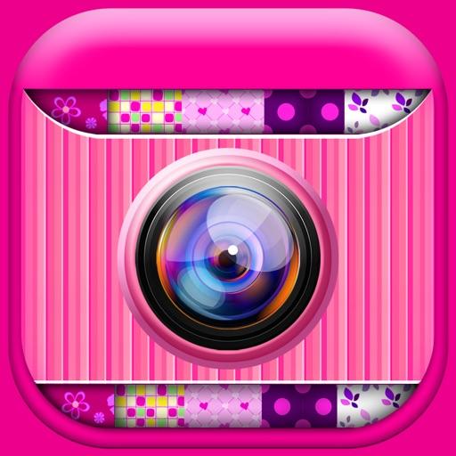 可爱的粉红色照片拼贴制作:女孩.