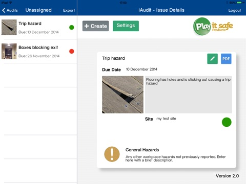 Screenshot of iAudit - Health & Safety Quality Environmental