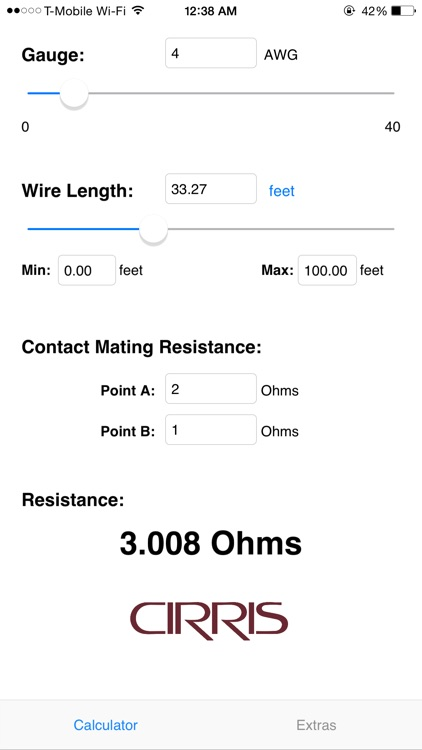 Wire resistance calculator by cirris systems corporation wire resistance calculator greentooth Image collections