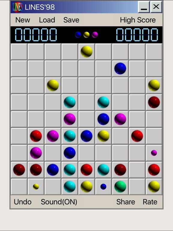 Line 98 Classic No Ads - линии одинаковых по цвету шариков на iPad