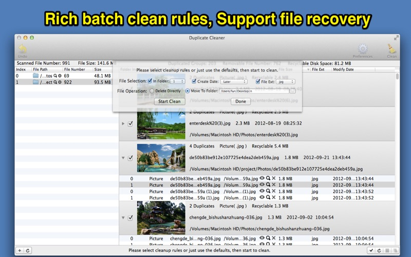 how to clean duplicate files