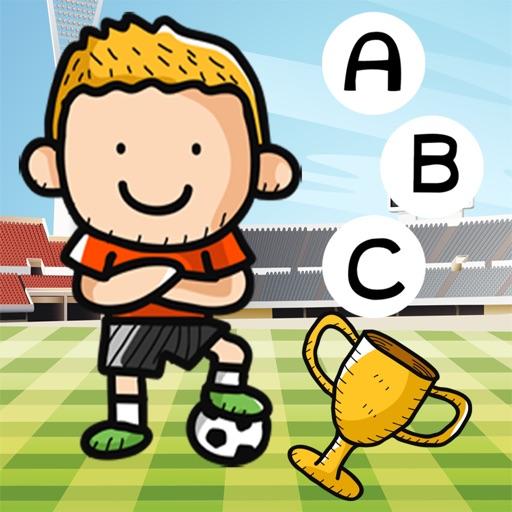 农行动画拼字比赛儿童:学习英语阅读与写作与足球世界杯的数字。游戏的乐趣为孩子和家