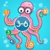 3-6歲兒童的海洋動物的數學遊戲:了解數字1-20。有趣的遊戲和練習幼兒園,學前班或幼兒園,海,水,魚,甲魚,鰻魚,海豚和螃蟹!