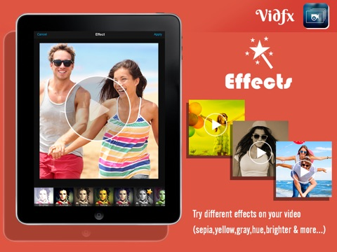 Screenshots of VidFx FREE-Add Video Effects by using Overlays and also add background music for videos for iPad