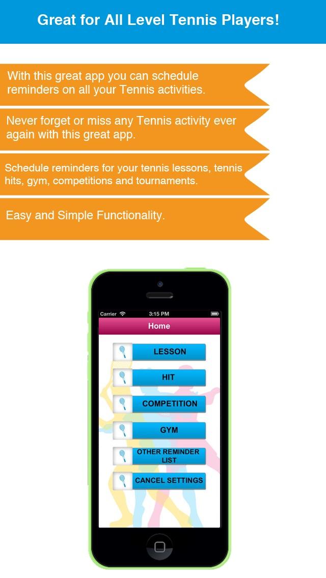 Теннис напоминание App - Расписание активности Расписание Напоминания-СпортСкриншоты 2