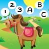 免費動畫兒童玩馬及工作學習:拼寫,計數