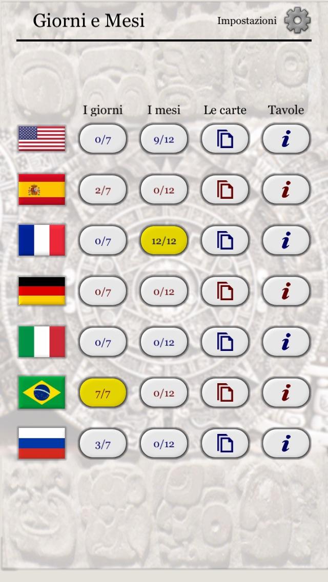 Screenshot of I giorni della settimana e i mesi dell'anno in 7 lingue - i nomi inglesi, tedeschi, francesi, italiani, spagnoli, portoghesi e russi3