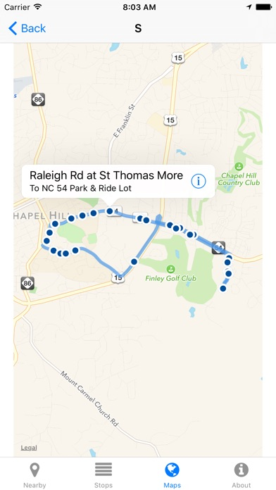 Screenshot for Chapel Hill Transit Now - Real-time Transit Arrivals in United States App Store