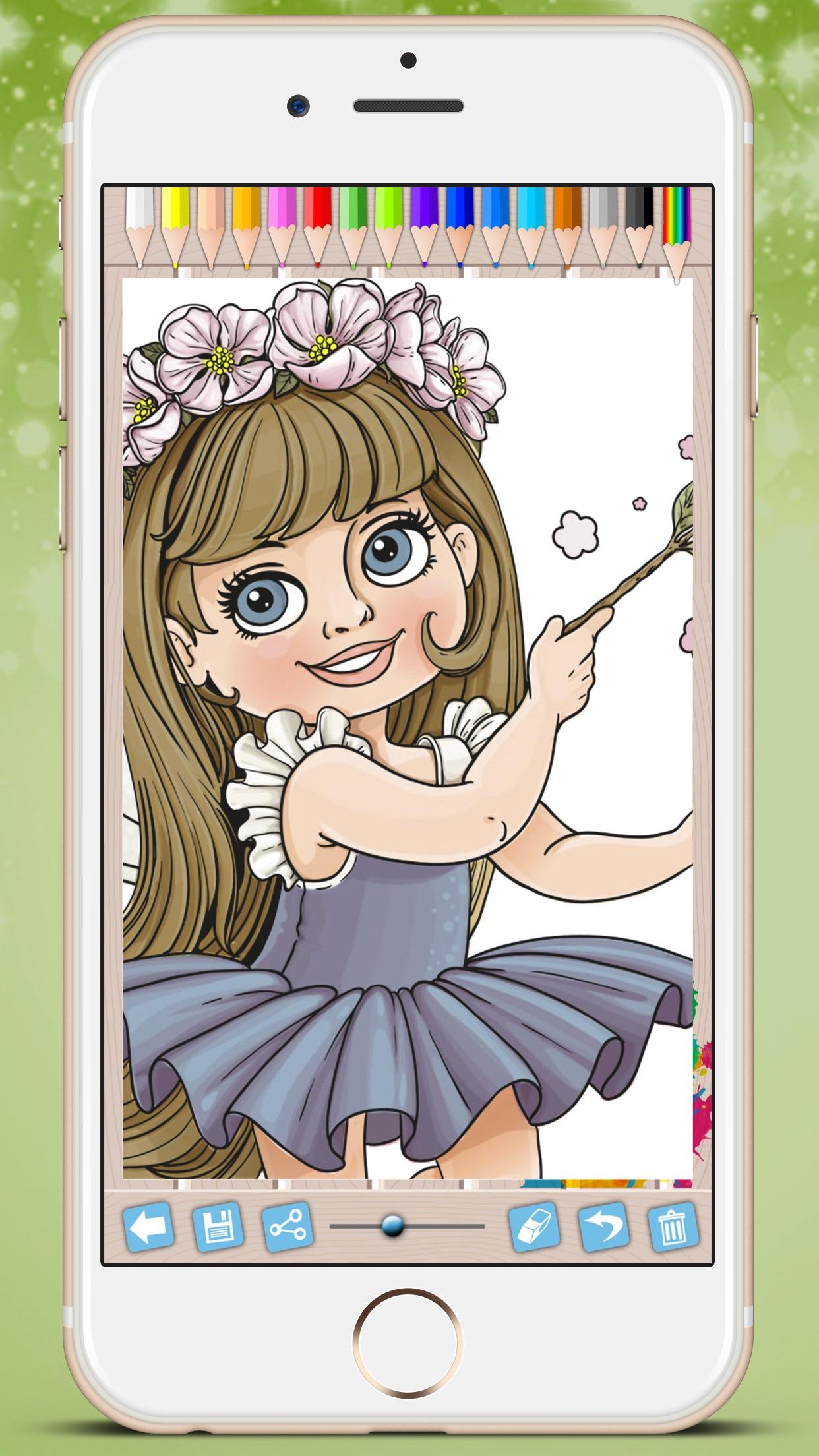 仙女公主涂色儿童画画游戏
