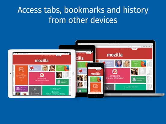 Screenshots of Firefox web browser for iPad