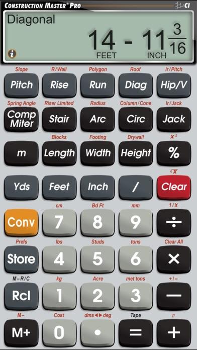 Construction Master Pro -- Advanced Feet Inch Fraction Construction Math Calculator for Building Professionals Screenshot