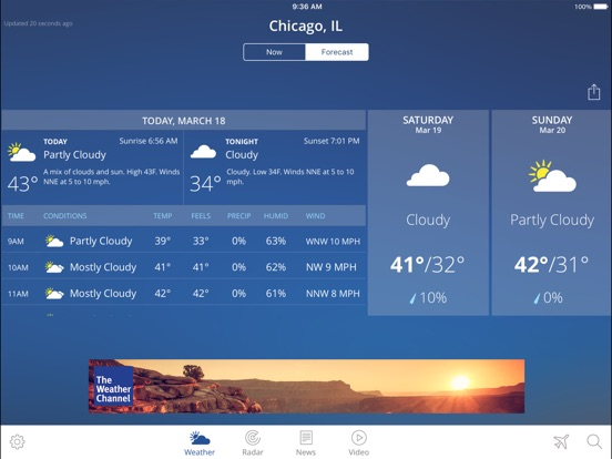 Screenshot #2 for The Weather Channel App for iPad – best local forecast, radar map, and storm tracking