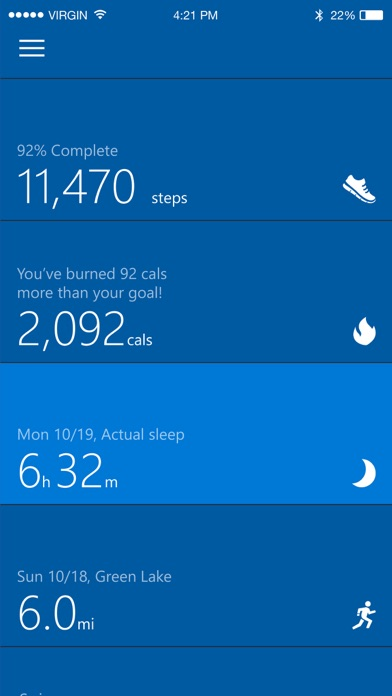 Screenshots of Microsoft Health for iPhone