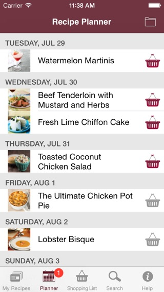 recipe and shopping list app