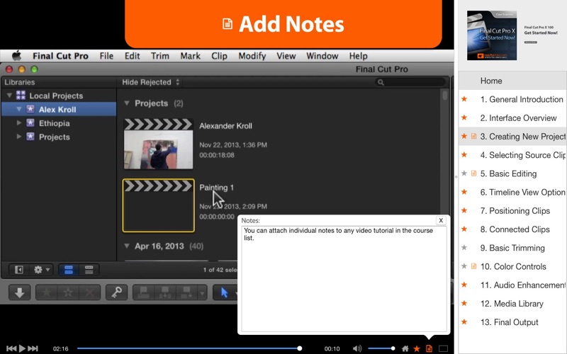 Course for getting started in fcpx par nonlinear educating for Photo ecran osx