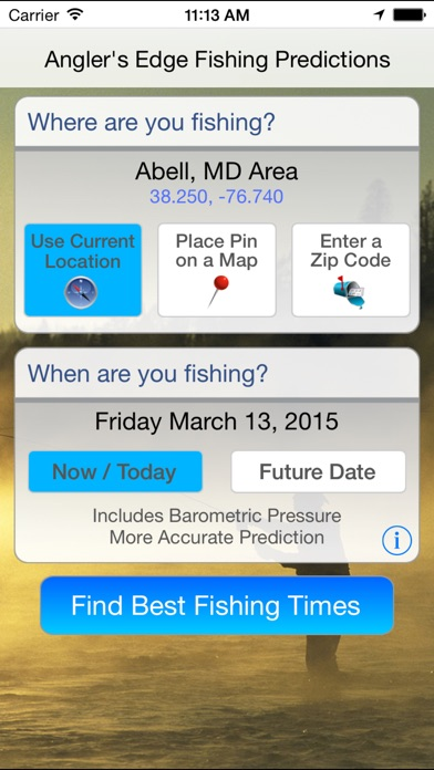 Angler 39 s edge solunar fishing predictions on the app store for Best fishing apps for iphone