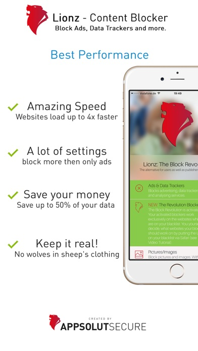 Lionz: The Block Revolution - Ad-Blocker for Safari - Block Ads, Data Trackers and more Screenshot