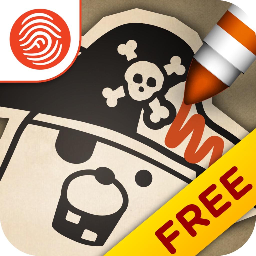 Pirate Scribblebeard's Treasure FREE by Kidoodle - A Fingerprint Network App