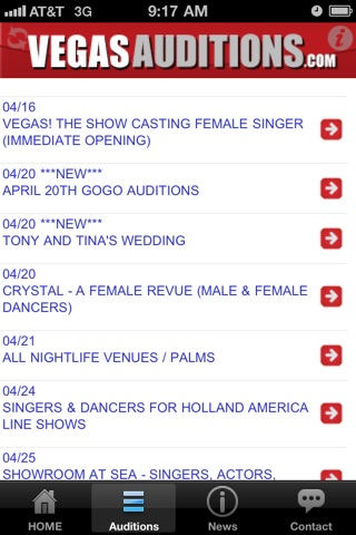 Vegas Auditions - Las Vegas entertainment jobs & casting notices screenshot 3