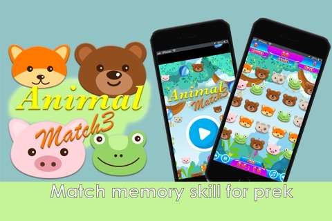 animal face match match 3 - preschool and kindergarten learning games screenshot 1