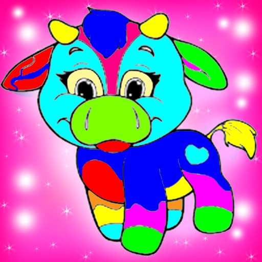 Coloring Fun kids coloring book paintbox Cow Chicken games free Edition iOS App