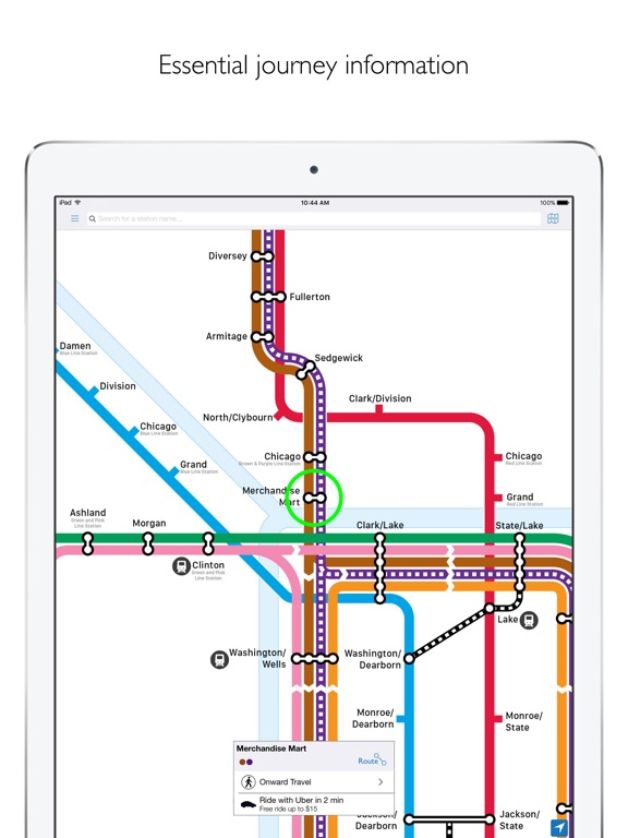 Chicago L Metro Map With Route Planner On The App Store - Chicago metro map