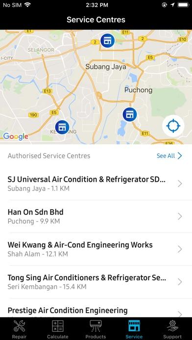 Screenshot of AC Support App