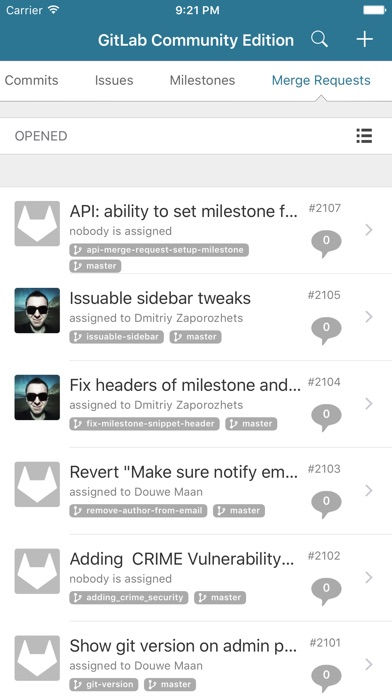 Screenshot 4 for GitLab's iPhone app'