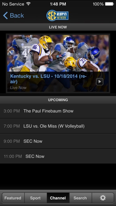 Screenshots of WatchESPN for iPhone