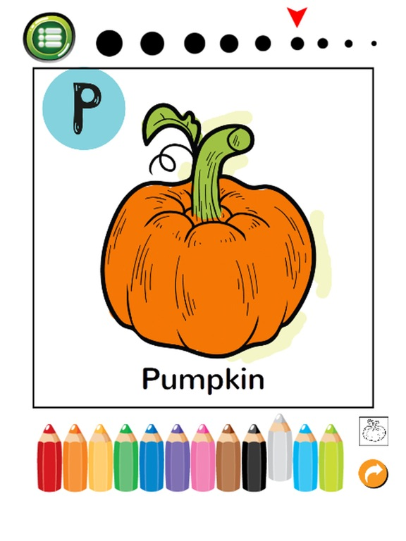 Screenshot 5 For ABC Fruits And Vegetables Coloring Book Learning English Vocabulary Free