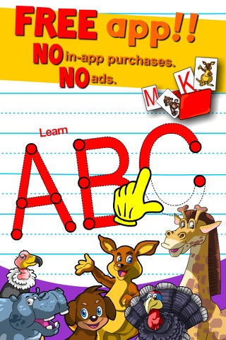 Learn ABC and alphabet thru trace game, flash cards and song. screenshot 1