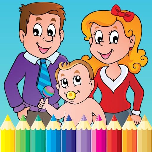 Familia Libro Para Colorear Para Los Niños Y Dibujo Del Niño
